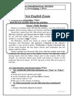 First English Exam(1st Term) Ltr
