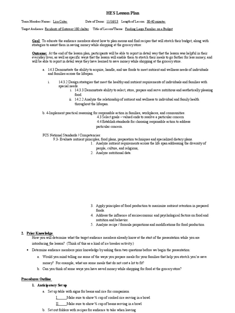 teaching lesson plan for gateway 18011   Food Industry