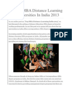 Best 19 MBA Distance Learning Top Universities in India 2013