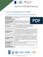 Formulaire Demande ICMD- Tunisie