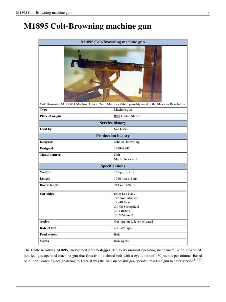 Colt-Browning Model 1895 Machine Gun (Potato Digger