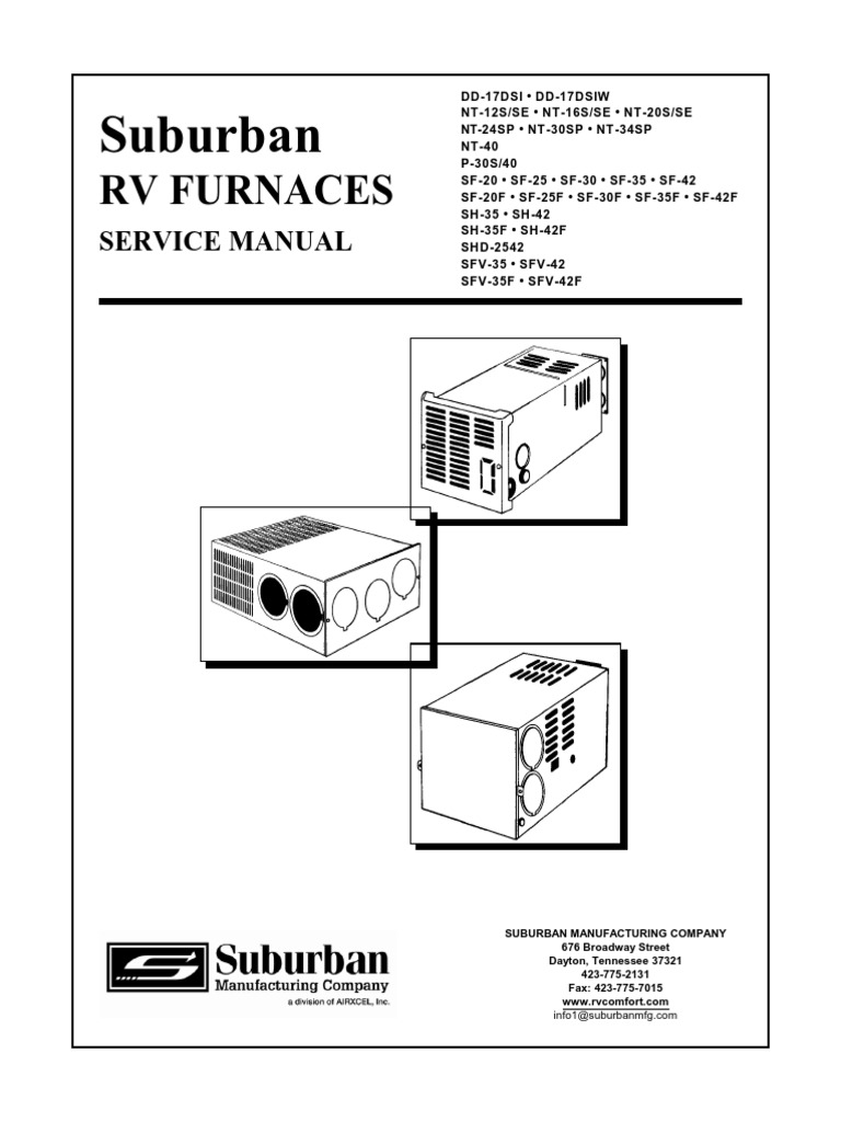 suburban rv furnaces service manual thermostat ignition system rh scribd com rv water heater wiring diagram camper furnace wiring diagram
