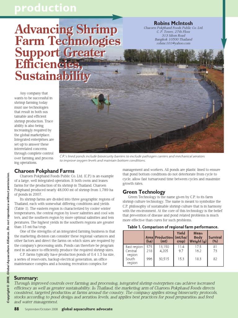 Advancing Shrimp Farm Technologies   Agriculture   Water