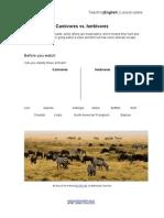 Carnivores vs Herbivores Worksheet