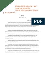 Implementasi Due Proses of Law Dalam Tata Hukum Modern Perspektif Perlindungan Korban Kejahatan