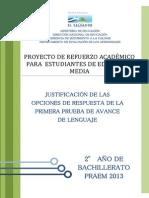 Justificacic3b3n de Las Opciones de Respuesta de La Primera Prueba de Avance de Lenguaje e28093 Segundo Ac3b1o de Bachillerato Praem 2013