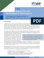 Citizen Engagement and Participatory Governance