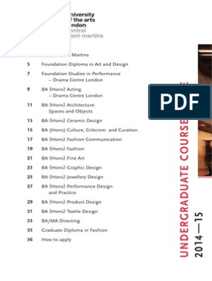 Csm Undergraduate Course Guide Design Bachelor Of Arts