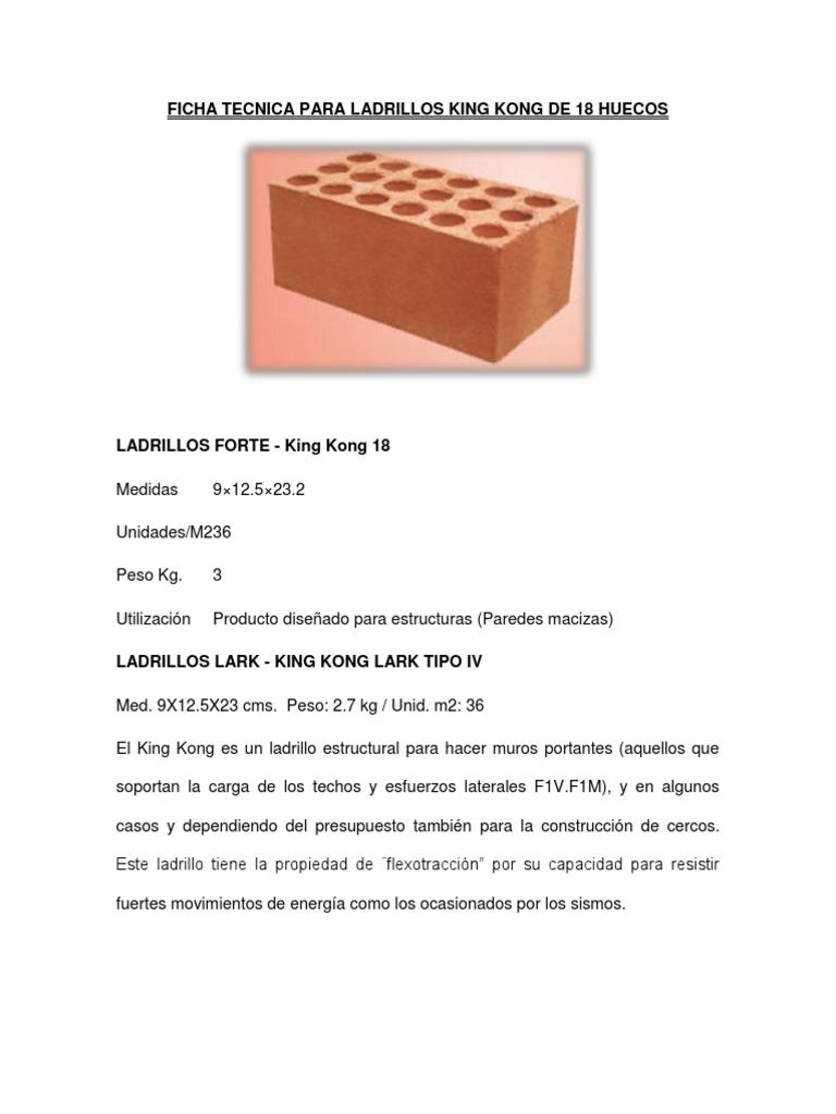Ficha tecnica para ladrillos king kong de 18 huecos - Dimensiones ladrillo cara vista ...