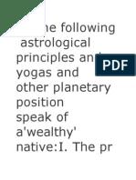 Wealth Yogas