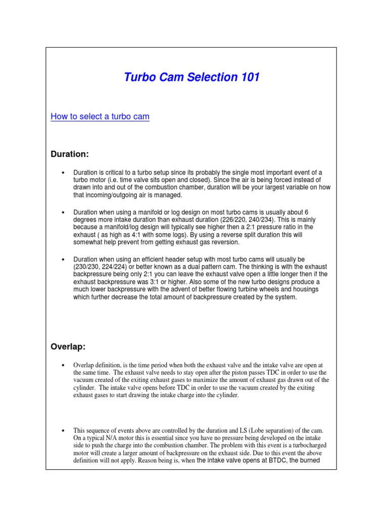 Turbo Cam Selection 101 Turbocharger Lift Force Cosworth Ecu Wiring Diagram