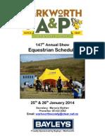 Warkworth Lifestyle Show Equestrian Schedule 2014
