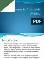 Genres in Academic Writing