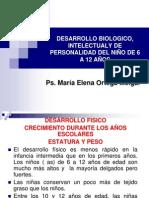 DESARROLLO BIOLOGICO,INTELECTUAL, PERSONALIDAD DE 6 A 12 AÑOS