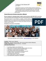 SOLS 24/7 Human Resources Internship Job Description - Malaysia