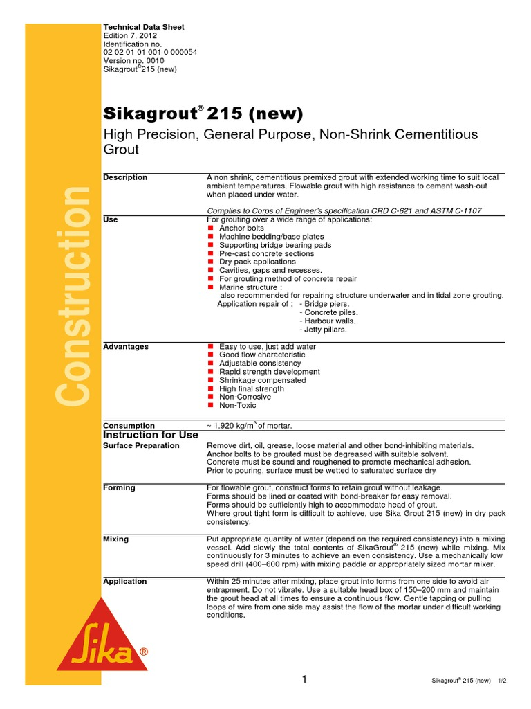 Sikagrout 215 N | Mortar (Masonry) | Concrete
