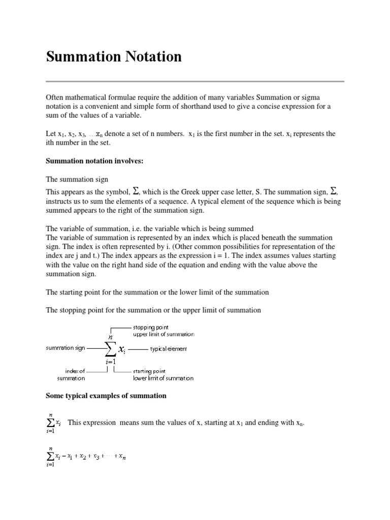 Summation Notation Summation Variable Mathematics