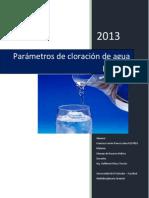 Parámetros de cloración de agua potable