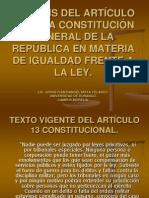 ANÁLISIS ART. 13 CONSTITUCIONAL