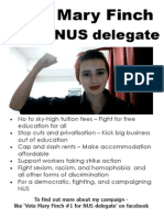 Vote Mary Finch #1 for NUS delegate