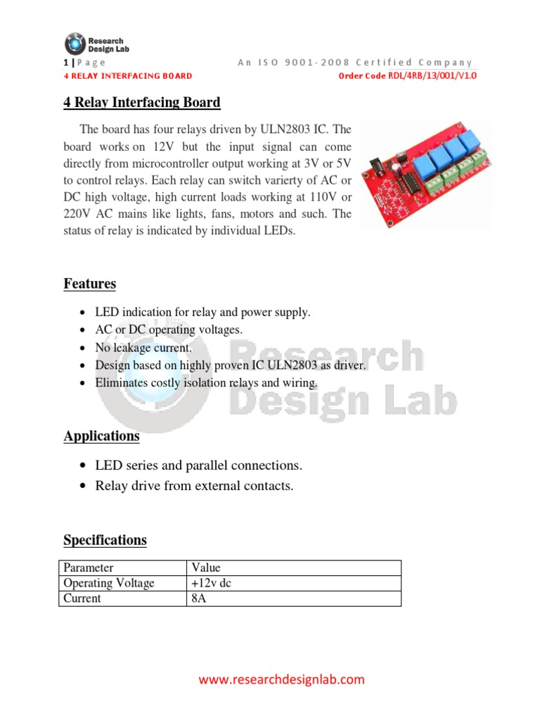 4 Relay Interfacing Board Switch Current Based