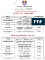 Academic Sessions 2013-2014