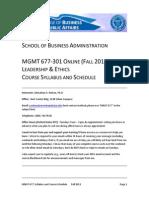 MNGT 677 Syllabus (Fall 2013)