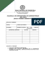 PLANILLA DE INSCRIPCIÓN PRIMER SEMESTRE