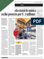 Precaria escuela estatal de música recibe proyecto por S/.3 millones