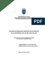 FACTORES DE RESILIENCIA PRESENTES EN ESTUDIANTES DE LA UNIVERSIDAD DEL BÍO BÍO, SEDE CHILLÁN