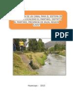 Contruccion de Un Canal Para El Sistema de Riego en La Localidad El Mantaro