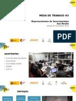 Información de problemas de la Colonia San Benito extraída de mesa de trabajo de inversionistas en el área