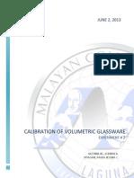 Experiment 2 - Calibration of Volumetric Glassware