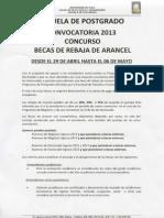 Convocatoria Beca Rebaja Arancel 2013