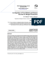 Co Digestion of Food Waste and Human Excreta for Biogas Production