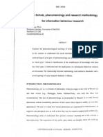 Alfred Schutz,  phenomonology and research methodology for informative behaviour research