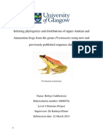 Hons Project - Robyn Cuthbertson - Inferring Phylogenies and Distributions of Upper-Andean and Amazonian Frogs From the Genus Pristimantis Using New and Previously Published Sequence Data - 2012-13