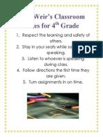 Classroom Rules for Portfolio
