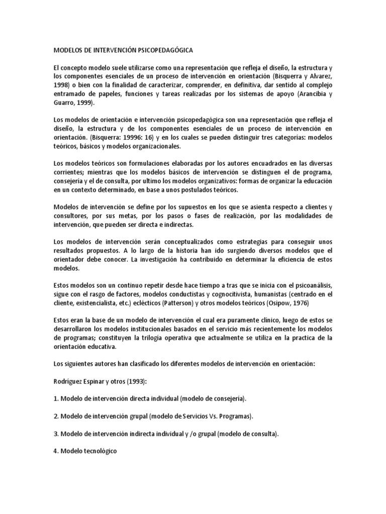 MODELOS DE INTERVENCIÓN PSICOPEDAGÓGICA....