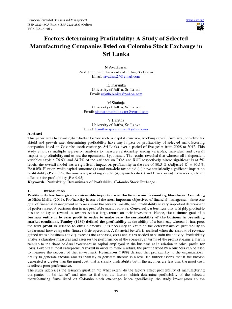 A Study of Selected Manufacturing Companies Listed on Colombo Stock