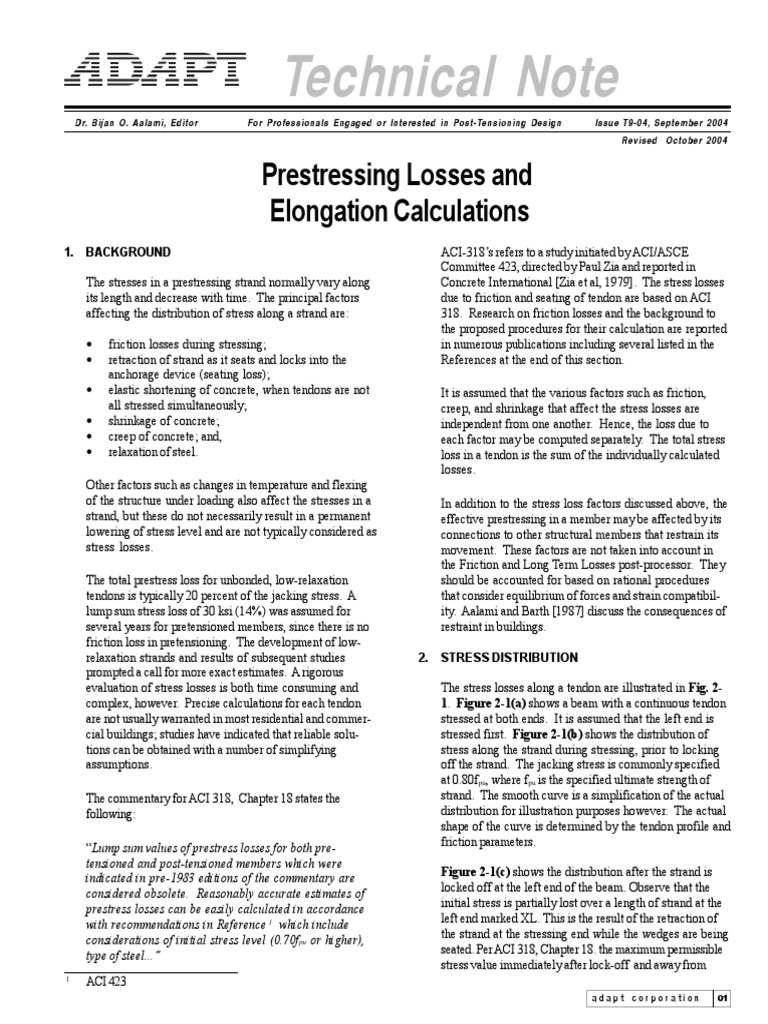 ADAPT T904 Stress Losses   Prestressed Concrete   Strength Of Materials