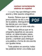 Cómo acentuar correctamente las palabras en español