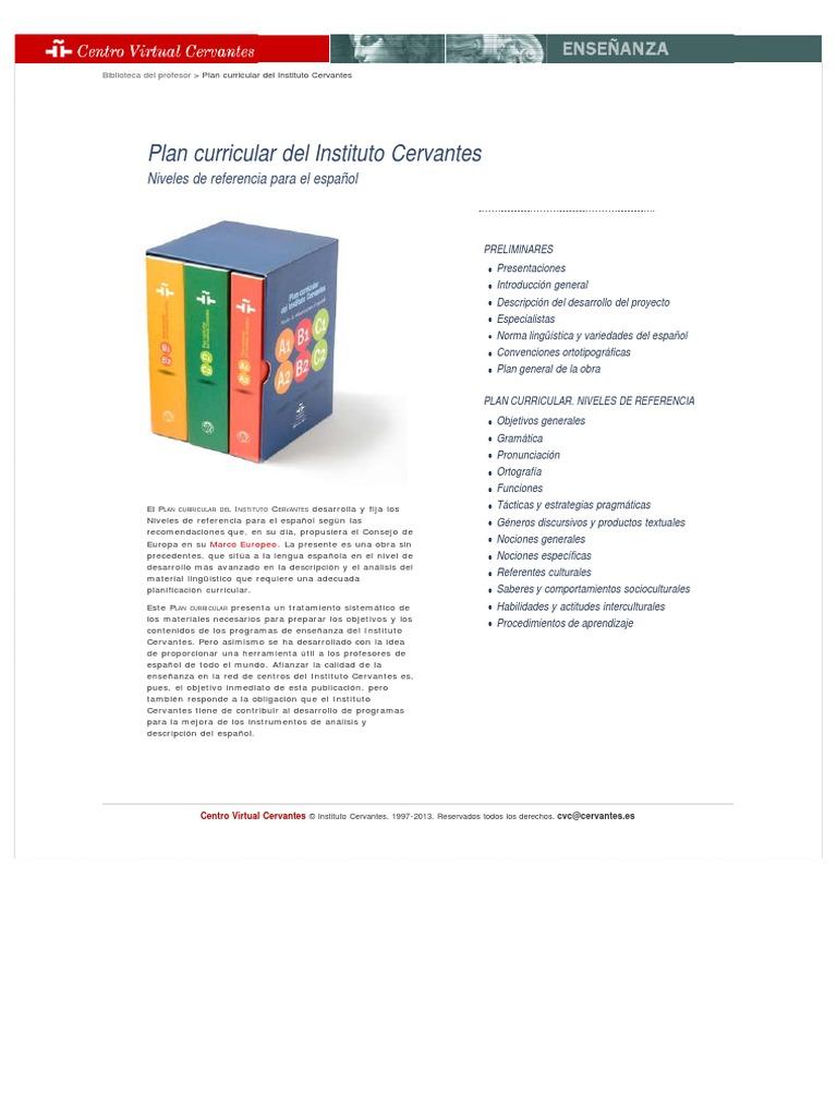 Plan curricular del Instituto Cervantes. Niveles de referencia para ...