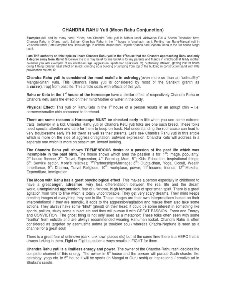Chandra Rahu Yuti | Horoscope | Astrology