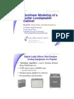 Slide - Nonlinear Modeling of a Guitar Loudspeaker Cabinet