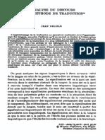 Jean Delisle- Analyse du Discours comme méthode de traduction