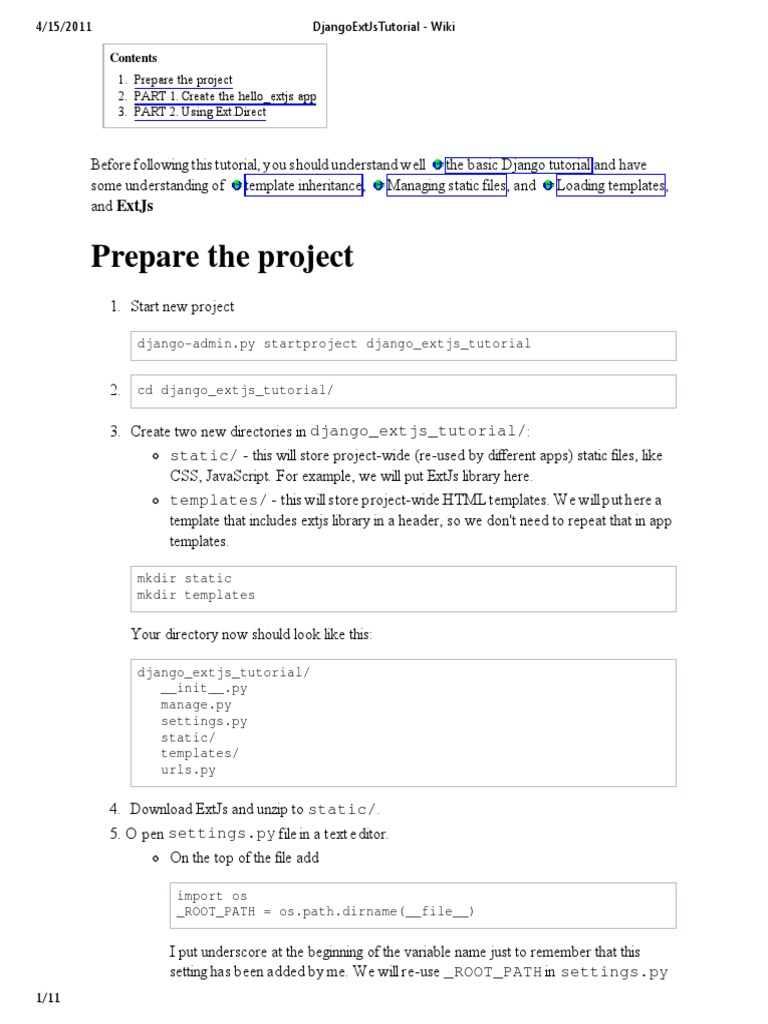 Prepare the project