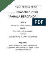 Cadangan Kertas Kerja Ihya Ramadhan