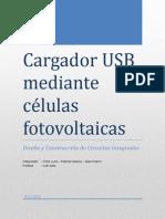 Cargador USB mediante células fotovoltaicas