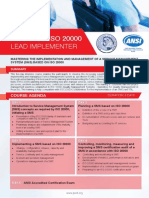 Certified ISO 20000 Lead Implementer - Four Page Brochure